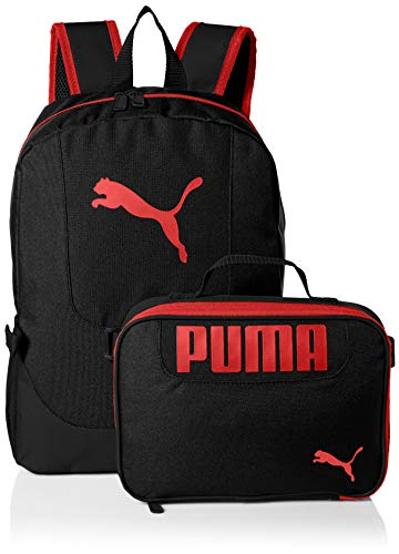 PUMA Big Kid's Lunch Box Backpack Combo, black/Red, Youth Size